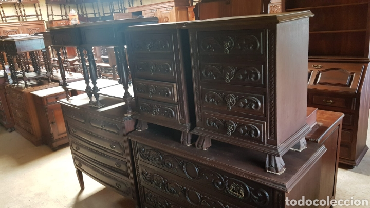 Antigüedades: Conjunto de cómoda y mesillas - Foto 2 - 205823918