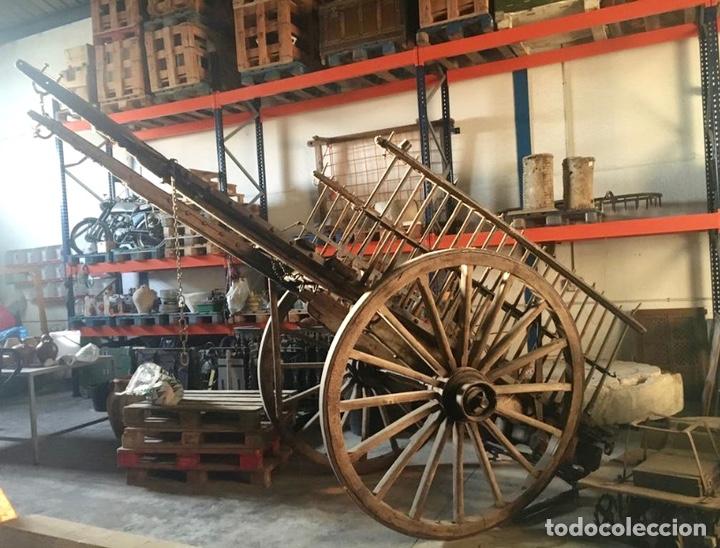 Antigüedades: Carro de tiro de madera y hierro - Foto 2 - 205825802