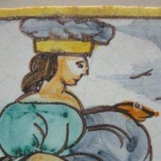 Antigüedades: RAJOLA OFICIS . DE FULLES . AZULEJO DE OFICIOS . LAVANDERA PERFECTO ESTADO!. Lote 205852771