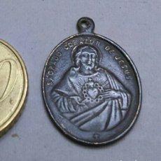 Antigüedades: MEDALLA ANTIGUA DE EL SAGRADO CORAZON DE JESÚS Y SANTO DE MARÍA. Lote 205869682