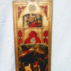 Antigüedades: TABLA RELIGIOSA ANUNCIACIÓN Y NACIMIENTO. ESMALTES Y PAN DE ORO. 74 CM POR 30 CM. Lote 205873082
