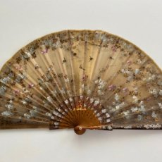 Antigüedades: ABANICO DE COMIENZOS S. XX. PINTADO A MANO MOTIVO FLORAL. Lote 205881498
