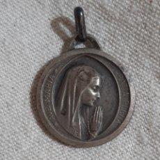 Antigüedades: MEDALLA RELIGIOSA AVE MARIA GRATIA PLENA VIRGEN DE LURDES PLATA. Lote 205886701