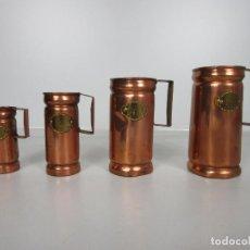 Antigüedades: JUEGO DE 4 JARRAS DE MESURA - JARRA CERVEZA - COBRE -SELLO FERRAN GANETA - 1 LITRO,1/2 L,1/4 L,1/8 L. Lote 205900381
