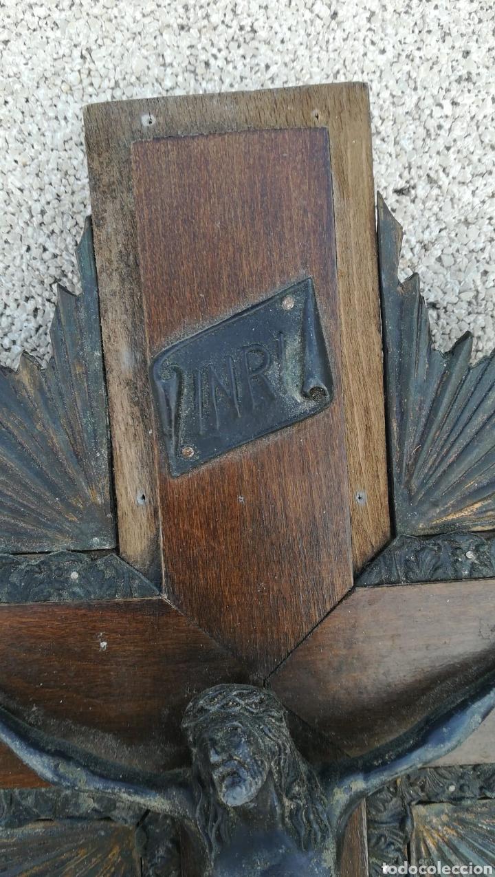 Antigüedades: Cruz madera y plomo - Foto 3 - 206129135