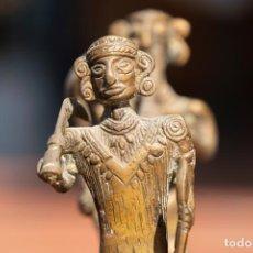 Antigüedades: FIGURA INDU DE BRONCE ELEFANTE CON DOS HOMBRES. Lote 206141522