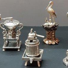Antigüedades: 6 FIGURAS DE PLATA DE LEY 925/000 AÑO 1960. Lote 206142036