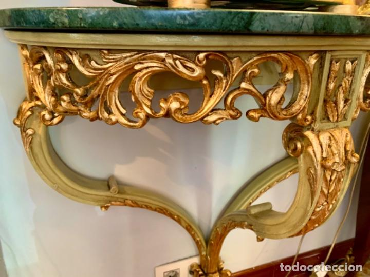 Antigüedades: Preciosa Consola verde-celadon y oro - Foto 4 - 206145812