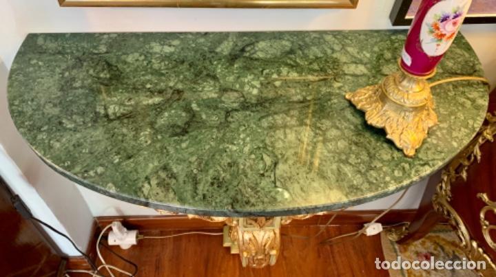 Antigüedades: Preciosa Consola verde-celadon y oro - Foto 6 - 206145812