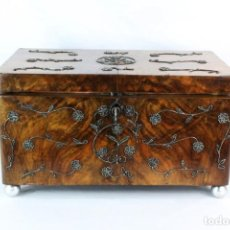 Antiquités: GRAN COFRE JOYERO EN MADERA, FILIGRANA DE PLATA Y SEDA. FRANCIA CA 1900. Lote 206147073
