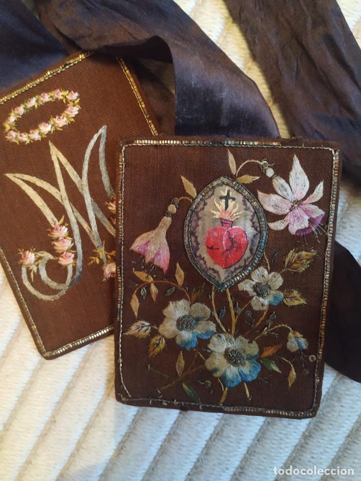 Antigüedades: Escapulario seda sagrado corazón siglo XIX, gran tamaño - Foto 2 - 206159612