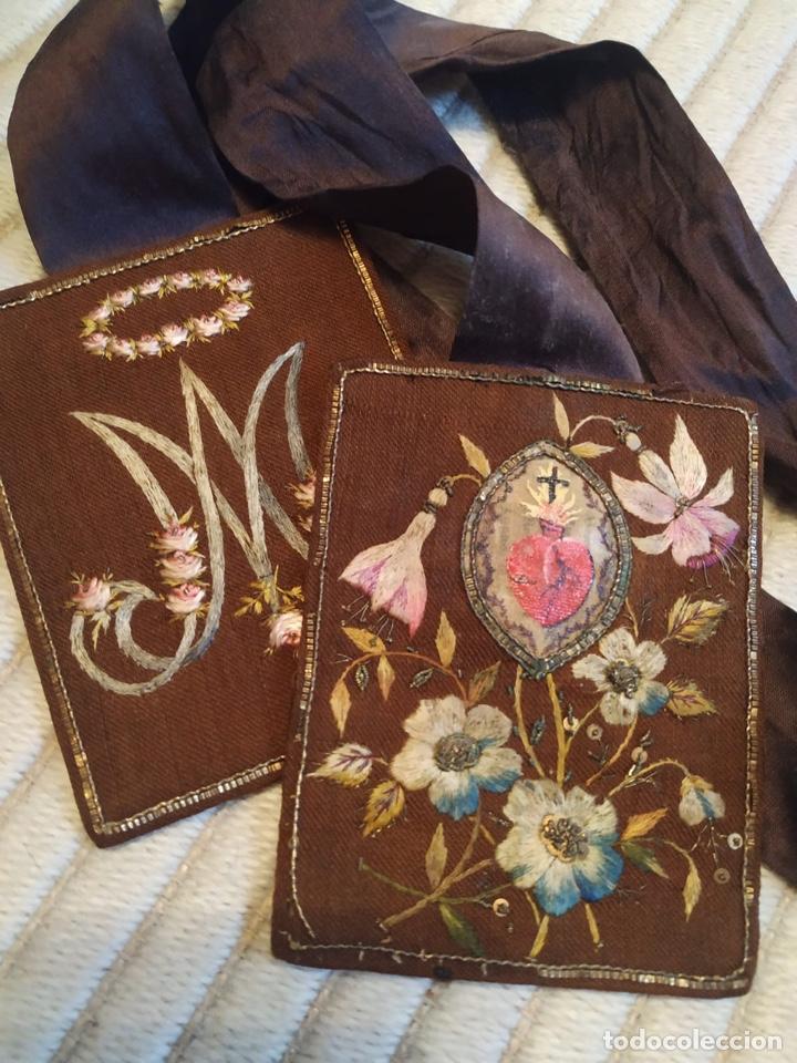 Antigüedades: Escapulario seda sagrado corazón siglo XIX, gran tamaño - Foto 3 - 206159612