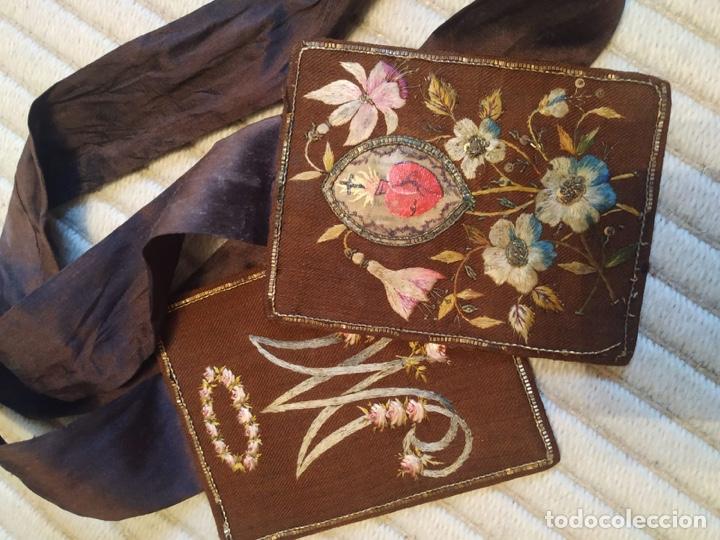 Antigüedades: Escapulario seda sagrado corazón siglo XIX, gran tamaño - Foto 4 - 206159612