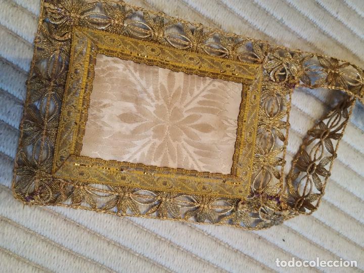Antigüedades: Escapulario seda sagrado corazón siglo XIX - Foto 2 - 206159773