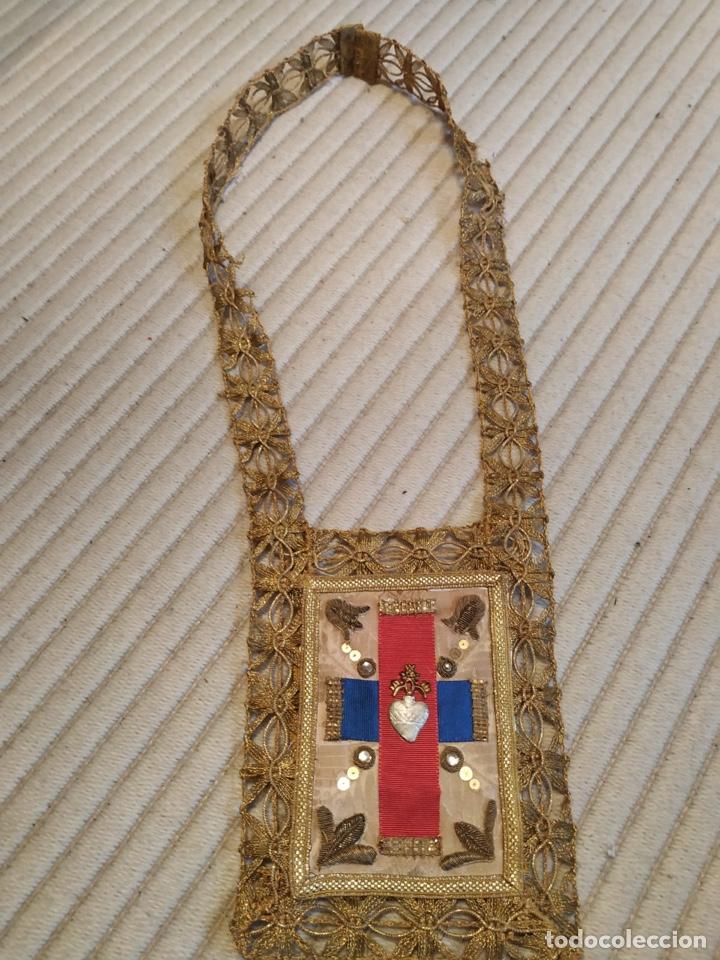 Antigüedades: Escapulario seda sagrado corazón siglo XIX - Foto 3 - 206159773