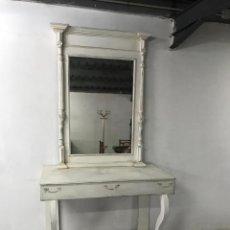 Antigüedades: GRAN MESA CON ESPEJO FRANCESA AL ESTILO SHABY CHIC.. Lote 206184986
