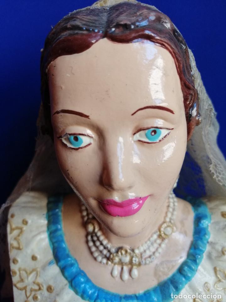 Antigüedades: FIGURA CABEZA DE FALLERA ANTIGUA PINTADA A MANO - Foto 3 - 206185341