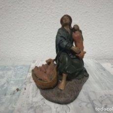 Antigüedades: ANTIGUA FIGURA VENDEDOR CERDOS PARA BELÉN PESEBRE NACIMIENTO HUEVO FRITO CACHARRERIA. Lote 206187676