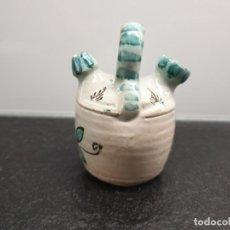Antigüedades: PEQUEÑO BOTIJO DE BARRO. CERÁMICA DE TALAVERA. 9 CENTÍMETROS DE ALTO. (ENVÍO 4,31€). Lote 206188850