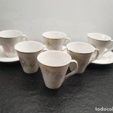 Antigüedades: JUEGO DE CAFÉ. 6 TAZAS + 3 PLATOS. MOTIVOS FLORALES. FLORES. (ENVÍO 4,31€). Lote 206189633
