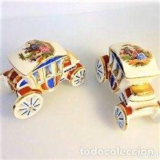 Antiquités: LOTE 2 COCHES DE PORCELANA DE LIMOGES EN PERFECTO ESTADO SELLADOS Y DECORADOS. Lote 94112770