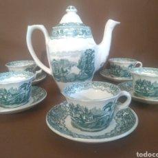 Antigüedades: 5 TAZAS DE TE CON PLATO Y CAFETERA. OCHAVADA VISTAS VERDE CARTUJA. Lote 206210483