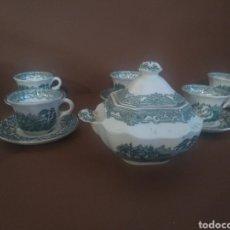 Antigüedades: AZUCARERO Y 5 TAZAS DE CAFÉ CON PLATO OCHAVADO VISTAS VERDE CARTUJA. Lote 236877265