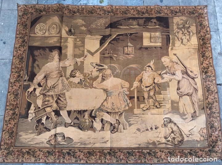 Antigüedades: TAPIZ JACQUARD 1920S, ESCENA CON DE MESA CON UN MONO TAMAÑO 217 x 174 cm. - Foto 6 - 206211747