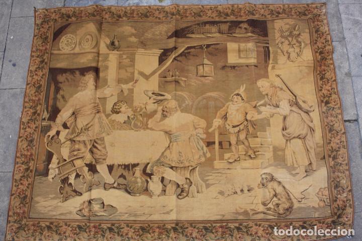 Antigüedades: TAPIZ JACQUARD 1920S, ESCENA CON DE MESA CON UN MONO TAMAÑO 217 x 174 cm. - Foto 3 - 206211747