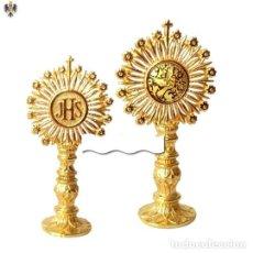 Antigüedades: CUSTODIA CORPUS CHRISTI DAMASQUINADO EN ACERO Y ORO 24K. 12 CMS. Lote 206236691