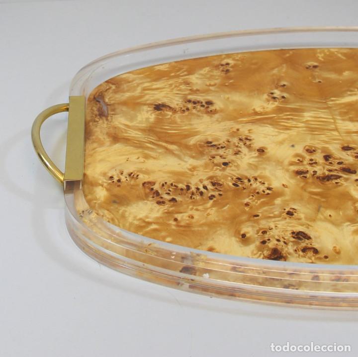 Antigüedades: Bandeja en metacrilato y metal dorado de Aldo Tura - Foto 2 - 206295572