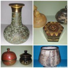 Antigüedades: LOTE DE JOYEROS, TARROS Y JARRÓN VERDE.. Lote 206297310