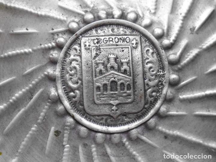 """Antigüedades: Porringers """" Cuenco sangrante """" de alpaca usado como catador de vino con el escudo de Logroño - Foto 3 - 206300386"""
