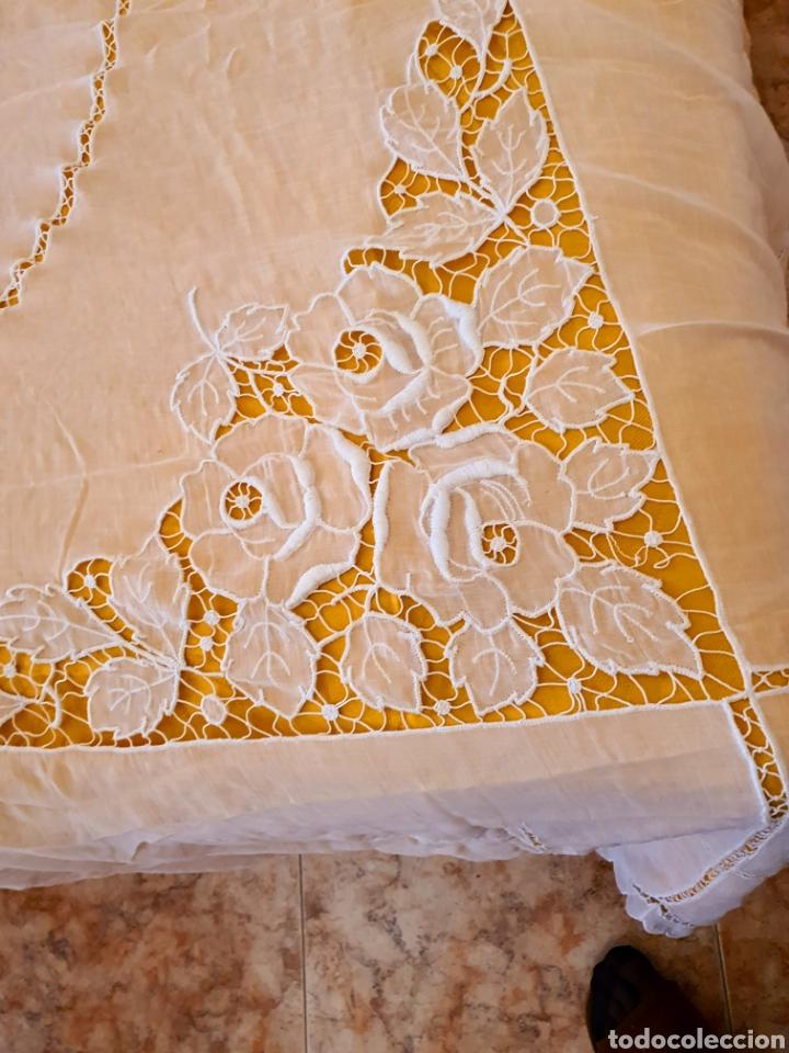 Antigüedades: colcha batista richelieu.matrimonio. estado muy bueno. - Foto 6 - 206308576