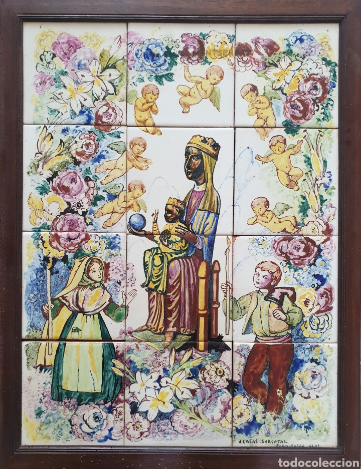Antigüedades: Jaume Cases Sarguetal (Olot,1906-1963) - Nuestra Sra.de Montserrat.Retablo Cerámico.FirmadoTitulado. - Foto 2 - 197613378