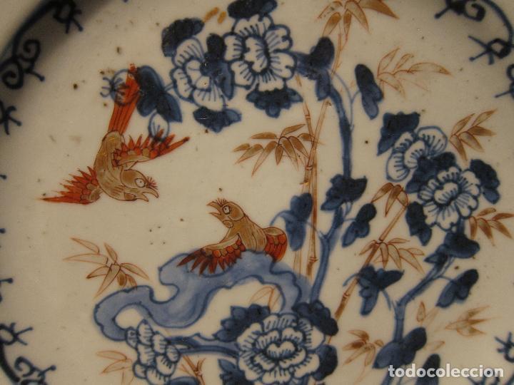 Antigüedades: ANTIGUO PLATO IMARI. JAPON . SIGLO XVIII - XIX. DIÁMETRO 23 CM. DECORACIÓN EN AZUL, ROJO Y DORADO - Foto 2 - 206325577