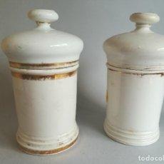 Antigüedades: PAREJA ALBARELOS TARROS DE FARMACIA ANTIGUOS. Lote 206328487