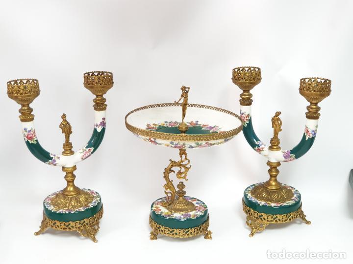 Antigüedades: Frutero italiano grande de porcelana y par de candelabros con dos brazos - Alfa Italy Segunda mitad - Foto 2 - 206330612