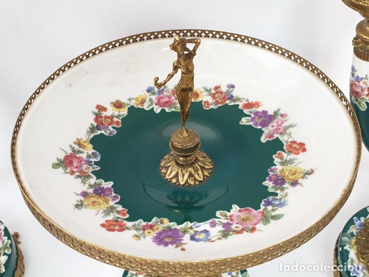 Antigüedades: Frutero italiano grande de porcelana y par de candelabros con dos brazos - Alfa Italy Segunda mitad - Foto 3 - 206330612