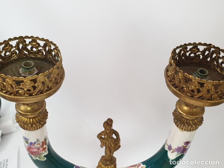 Antigüedades: Frutero italiano grande de porcelana y par de candelabros con dos brazos - Alfa Italy Segunda mitad - Foto 8 - 206330612