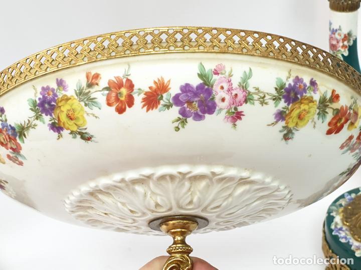 Antigüedades: Frutero italiano grande de porcelana y par de candelabros con dos brazos - Alfa Italy Segunda mitad - Foto 11 - 206330612