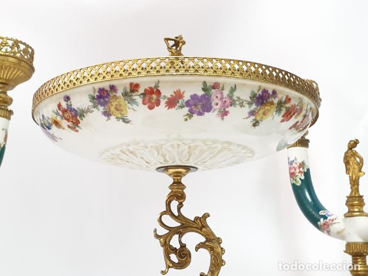 Antigüedades: Frutero italiano grande de porcelana y par de candelabros con dos brazos - Alfa Italy Segunda mitad - Foto 13 - 206330612