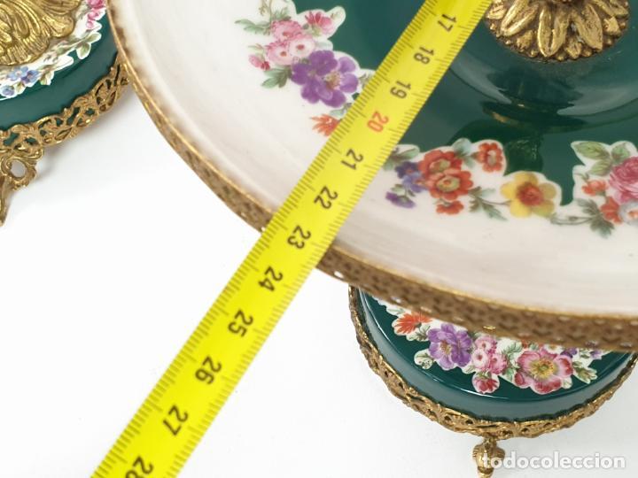 Antigüedades: Frutero italiano grande de porcelana y par de candelabros con dos brazos - Alfa Italy Segunda mitad - Foto 14 - 206330612