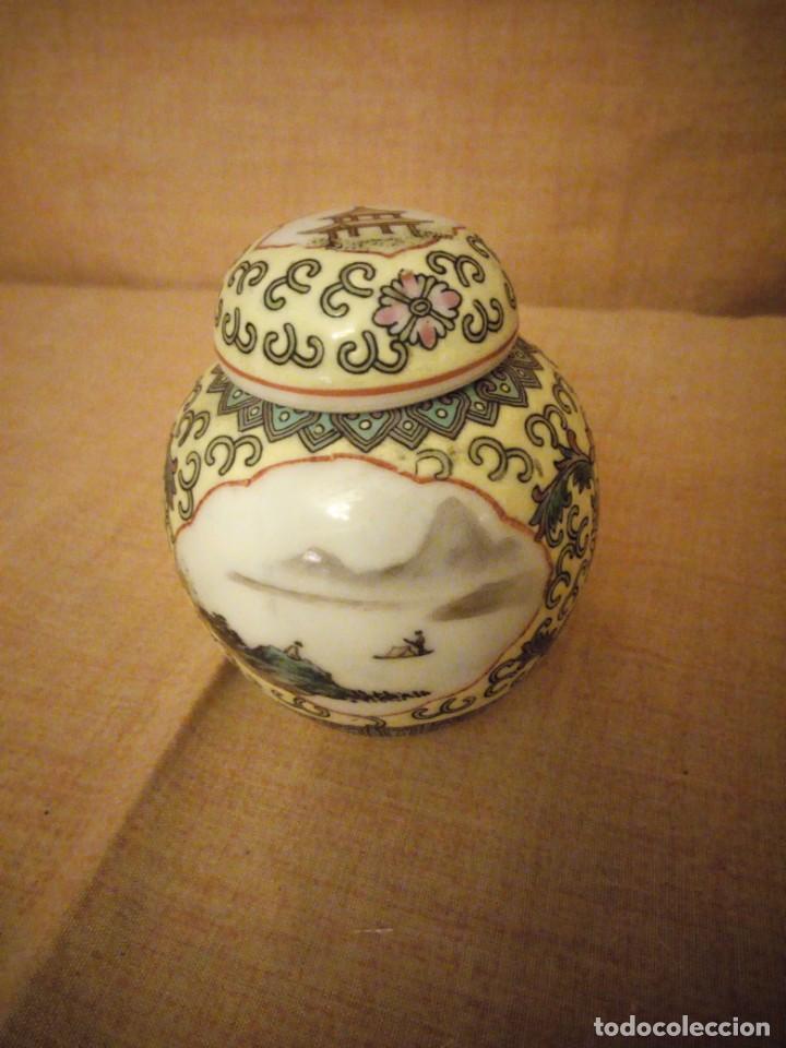 PRECIOSO TIBOR DE PORCELANA PINTADO A MANO MADE IN CHINA. (Antigüedades - Porcelanas y Cerámicas - China)