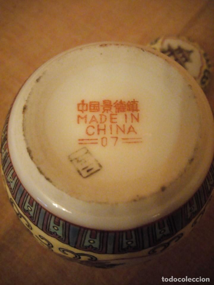 Antigüedades: precioso tibor de porcelana pintado a mano made in china. - Foto 6 - 206332312