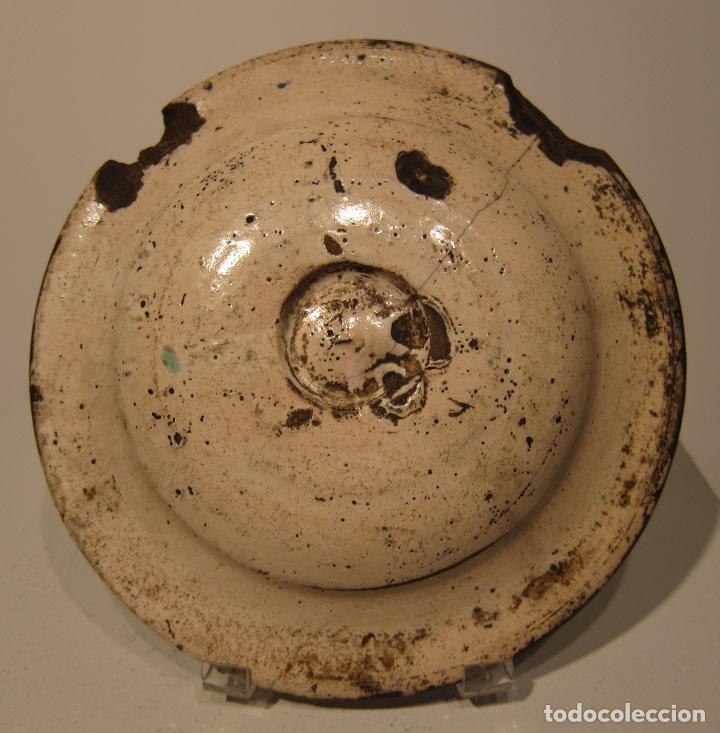 Antigüedades: ANTIGUO PLATO DE MUEL. ARAGON. SEGUNDA MITAD DEL SIGLO XVII. DIAM. 19 CM. AZUL VERDE Y MANGANESO - Foto 2 - 206332557