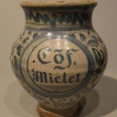 Antigüedades: ANTIGUA Y PEQUEÑA ORZA DE FARMACIA.TERUEL. ARAGON. SIGLO XVIII. ALTURA 15,5 CM. Lote 206333237