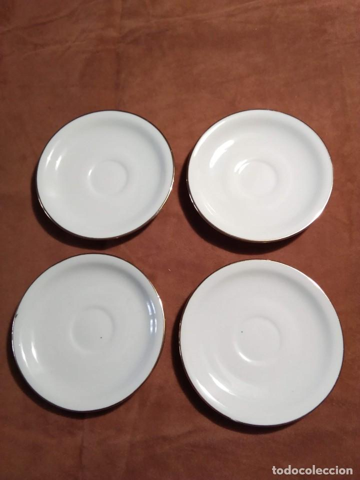 4 PLATOS DE CAFÉ BLANCOS, MAH SL, MANUEL ALVAREZ E HIJOS, VIGO (Antigüedades - Porcelanas y Cerámicas - Santa Clara)
