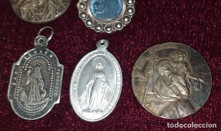 Antigüedades: LOTE DE 8 MEDALLAS RELIGIOSAS - Foto 3 - 206354246