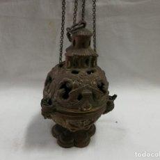 Antigüedades: BOTAFUMEIRO O INCENSARIO ANTIGUO BRONCE. Lote 206375395